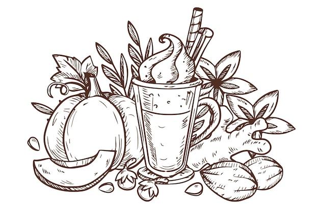 Gravure van handgetekende pompoenkruidillustratie