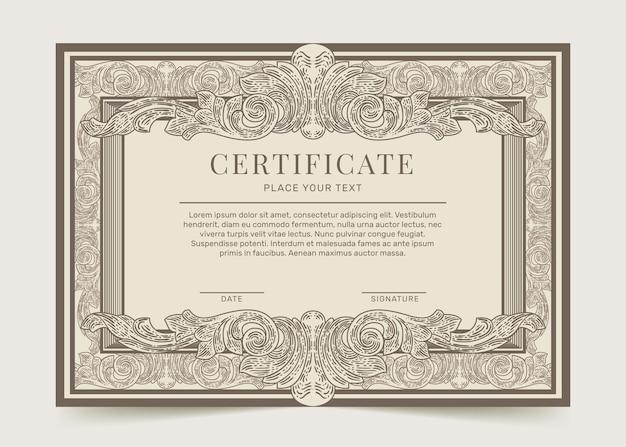 Gravure van handgetekende siercertificaatsjabloon