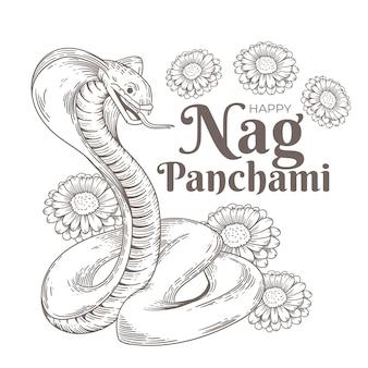 Gravure van handgetekende zeur panchami illustratie