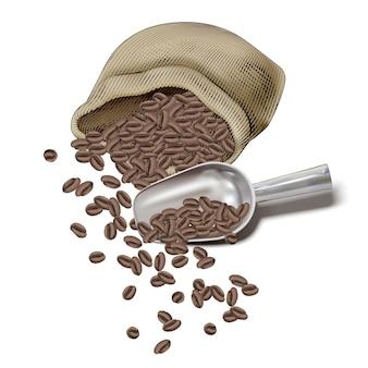 Gravure van koffiebonen in jutezak, bonen opgesplitst met illustratie koffieschep