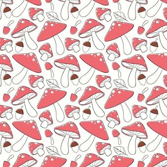 Gravure van roze paddestoel patroon