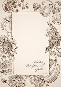 Gravure van vintage hand getekend rechthoekig frame met florale elementen