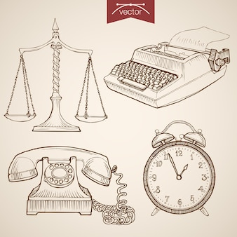 Gravure van vintage hand getrokken collectie van recht en rechtvaardigheid. potloodschets rechter proef weegschaal, telefoon, klok, typemachine