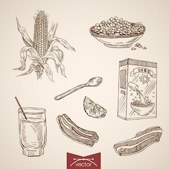 Gravure van vintage hand getrokken ontbijt cornflakes, citroen, baken collectie.