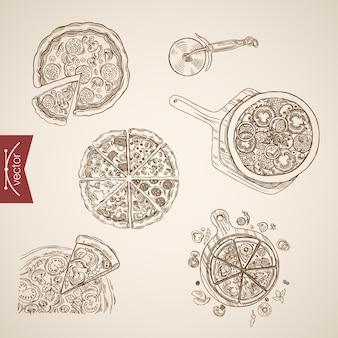 Gravure van vintage hand getrokken pizza bbq, margherita, veronese, napoletana collectie. potloodschets voedsel illustratie.