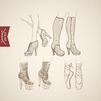 Gravure van vintage handgetekende laarzen met hoge hakken en balletschoenen