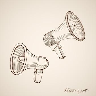Gravure van vintage handgetekende luidspreker