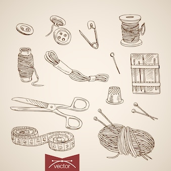 Gravure van vintage handgetekende snij- en naai-collectie.
