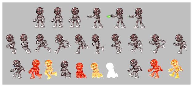 Gray cyborg enemy shooter game sprites