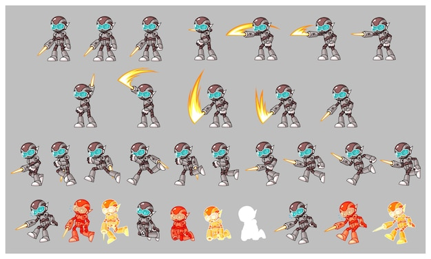 Gray cyborg enemy slayer game sprites