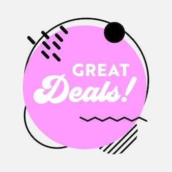 Great deal sale-banner in funky stijl met typografie voor reclame voor digitale sociale media-marketing
