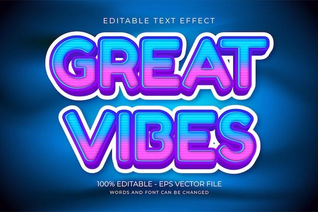 Great vibes bewerkbaar teksteffect premium vector