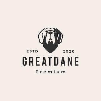 Greatdane hond hipster vintage logo pictogram illustratie