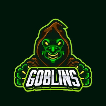 Green angry goblin ogre mascotte logo ontwerp