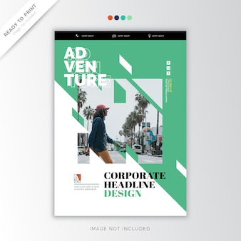 Green cover corporate headline template