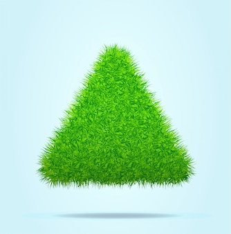 Green grass triangle of pyramid op een blue clear background