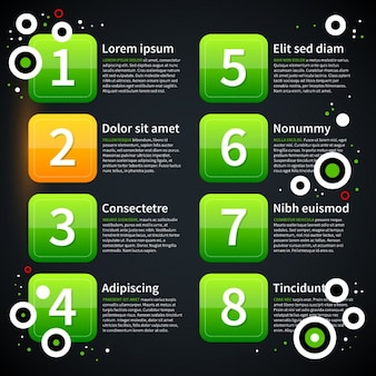 Green infographic template squares