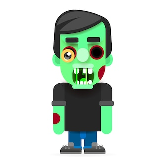 Green mad zombie character