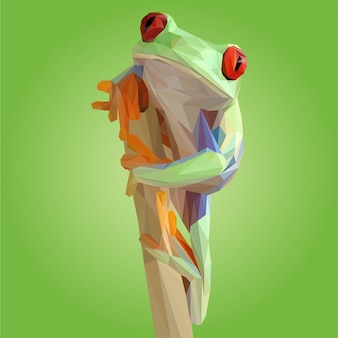 Green toad pose polygonal vector