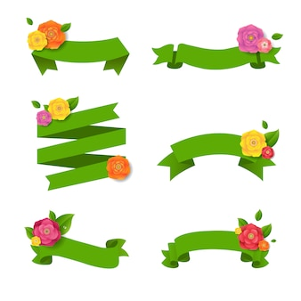Green web ribbon with flowers big set