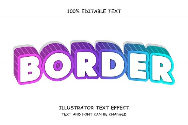 Grens, 3d bewerkbaar teksteffect moderne schaduwboogstijl