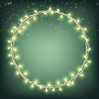 Grens kerstkaart met gloeiende lichten.