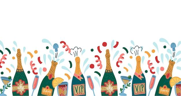 Grens met flessen champagne en glazen.