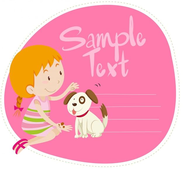 Grens met meisje en hond