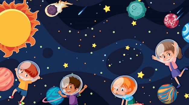 Grens met ruimtethema op achtergrond