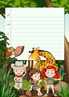 Grens sjabloon met kinderen en dieren