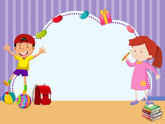 Grens sjabloon met kinderen in de kamer