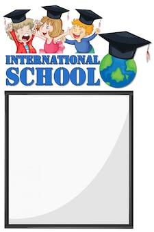 Grens sjabloon met kinderen van internationale school