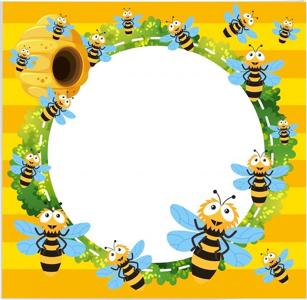 Grens sjabloon met veel bijen vliegen