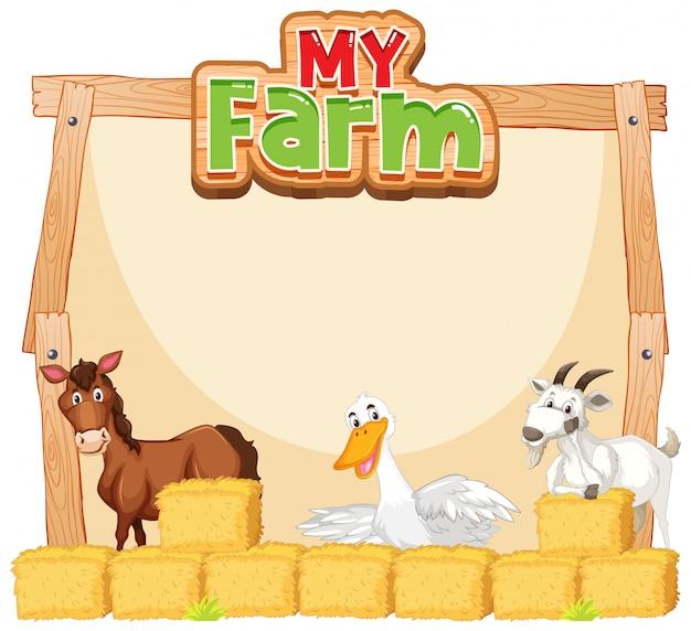 Grens sjabloonontwerp met boerderijdieren