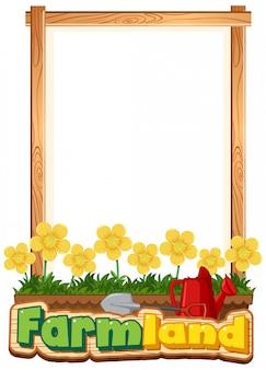 Grens sjabloonontwerp met gele bloemen in de tuin