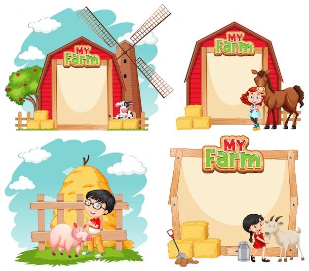 Grens sjabloonontwerp met kinderen en boerderijdieren