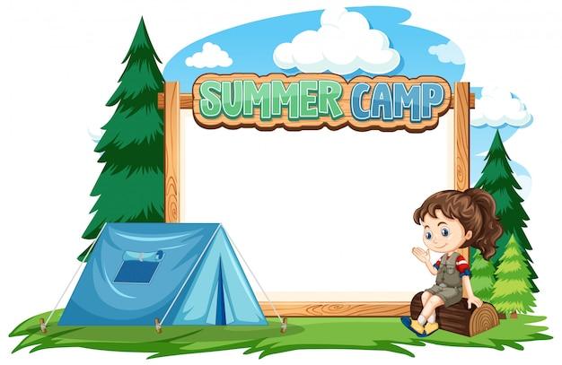 Grens sjabloonontwerp met meisje op zomerkamp