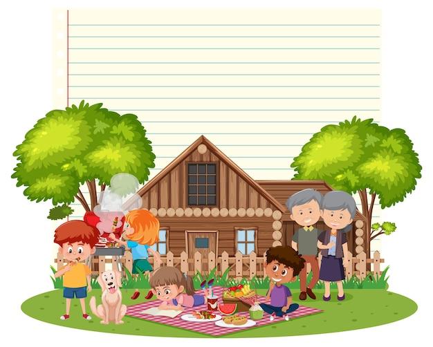 Grenskader sjabloon met picknick familie achtergrond