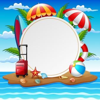 Grensmalplaatje met de samenstelling van de zomervakantie op eiland