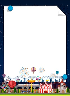 Grensmalplaatje met funpark op achtergrond