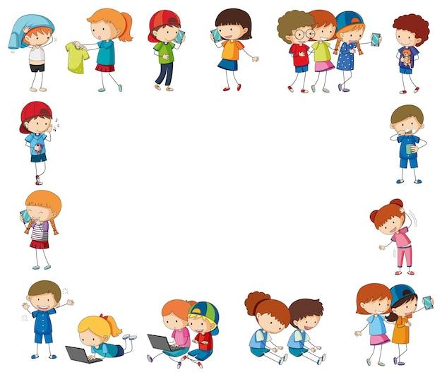 Grensmalplaatje met gelukkige kinderen met apparaten