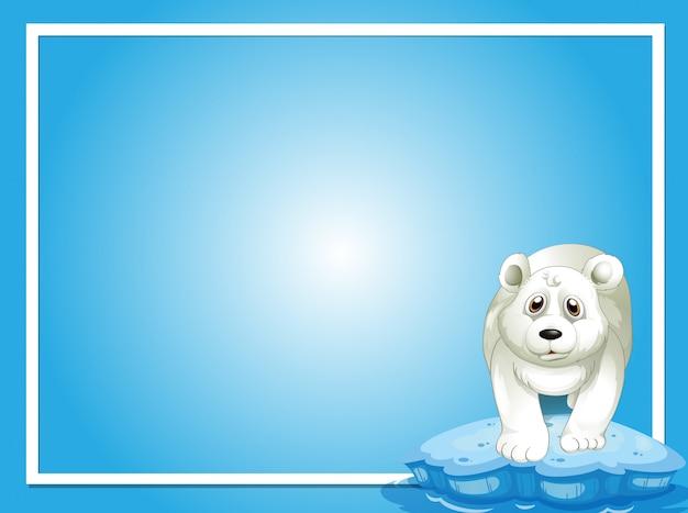 Grensmalplaatje met ijsbeer op ijs