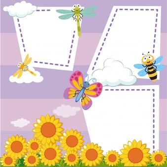 Grensmalplaatje met insecten in zonnebloemtuin