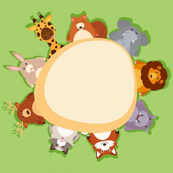 Grensmalplaatje met leuke dieren op groene achtergrond