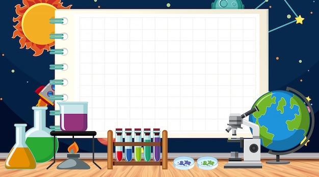 Grensmalplaatje met wetenschapsmateriaal op de vloer