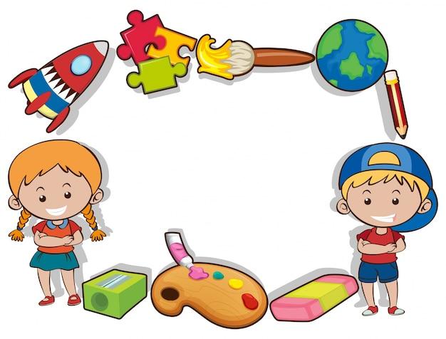 Grensontwerp met gelukkige kinderen en speelgoed