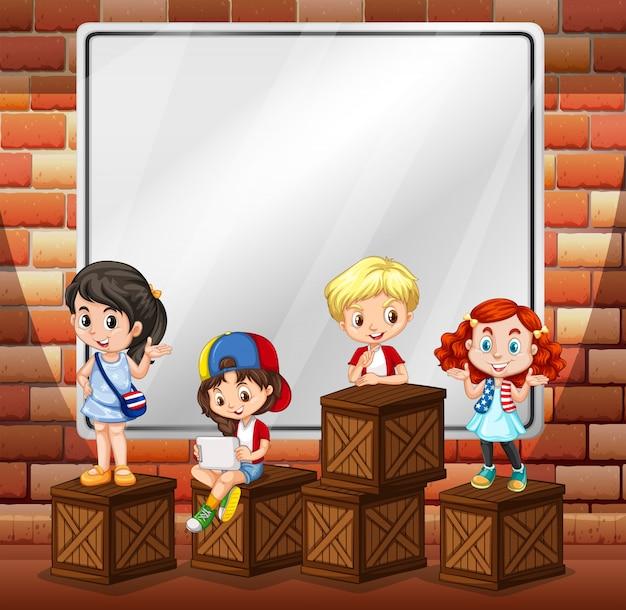 Grensontwerp met kinderen en dozen