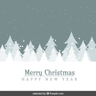 Grey besneeuwde landschap en bomen kerstkaart