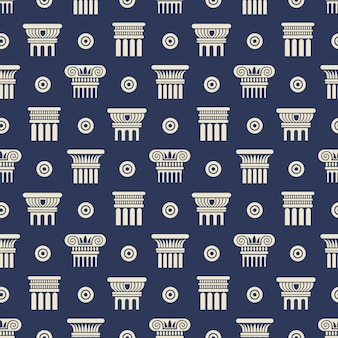 Grieks en romeins oud kolommen naadloos patroon