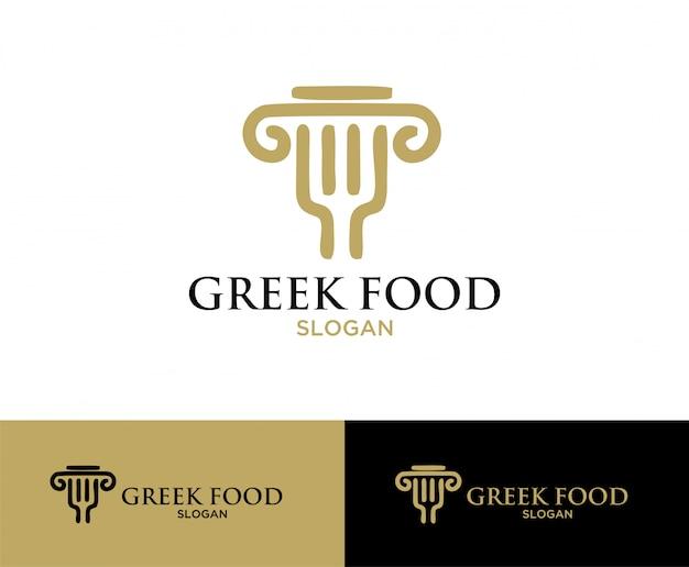 Grieks eten symbool logo ontwerp